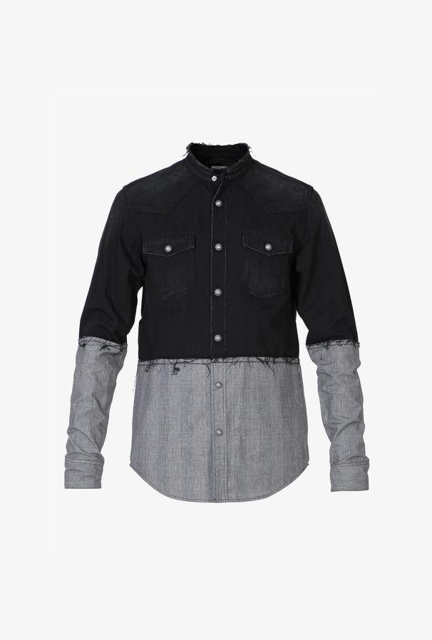 Camicia Bicolore In Denim Nero - Balmain