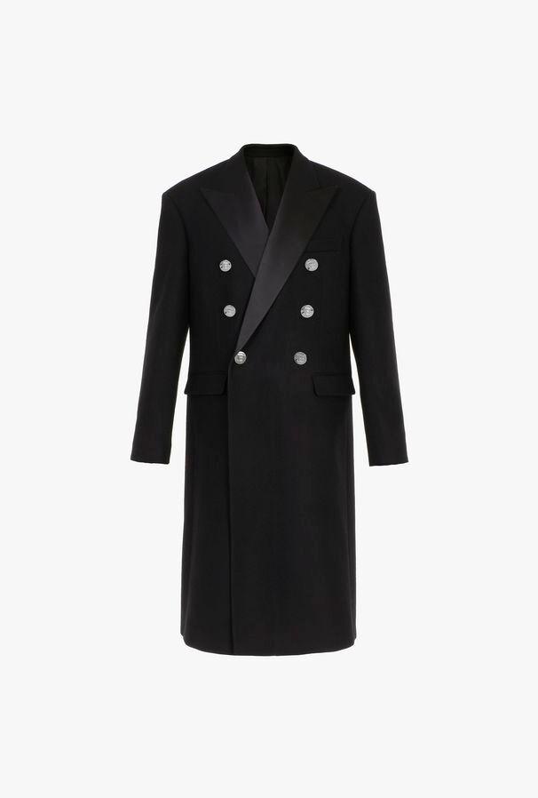 Cappotto Doppiopetto Nero Con Colletto In Raso - Balmain
