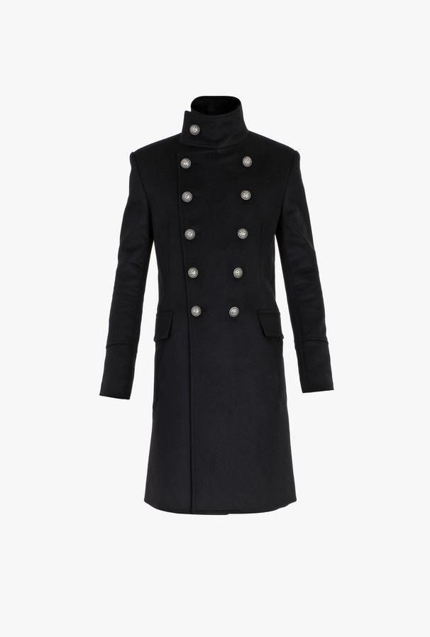 Cappotto Doppiopetto Lungo In Cashmere Nero - Balmain