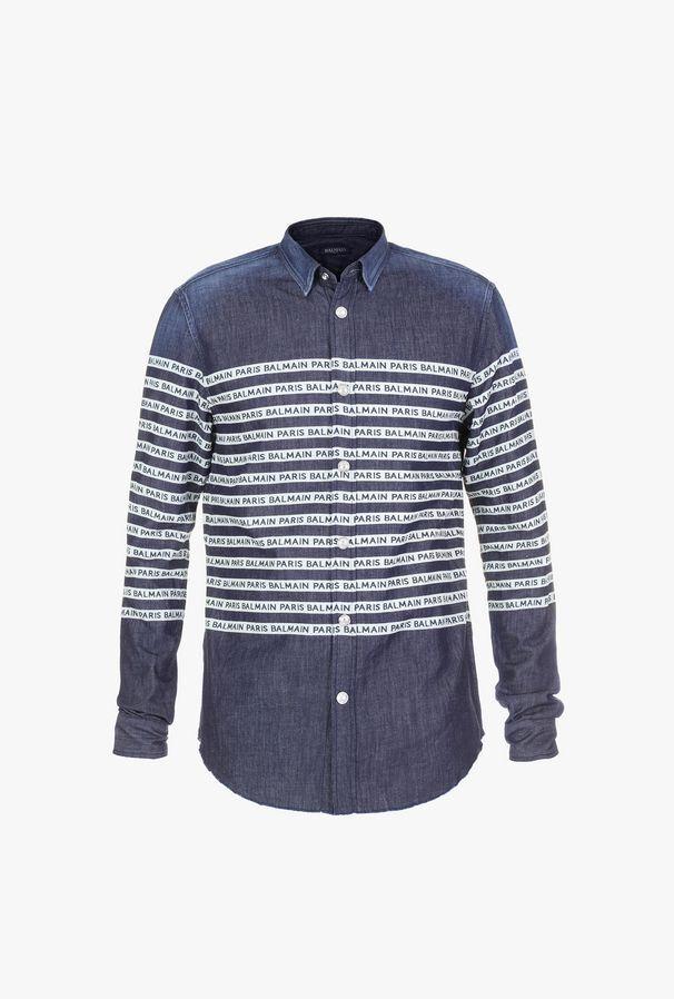Camicia In Denim A Righe Con Logo Balmain Paris - Balmain