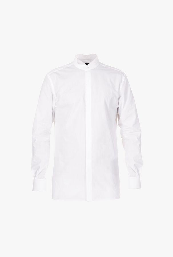 Camicia Bianca In Cotone Con Collo Diplomatico - Balmain
