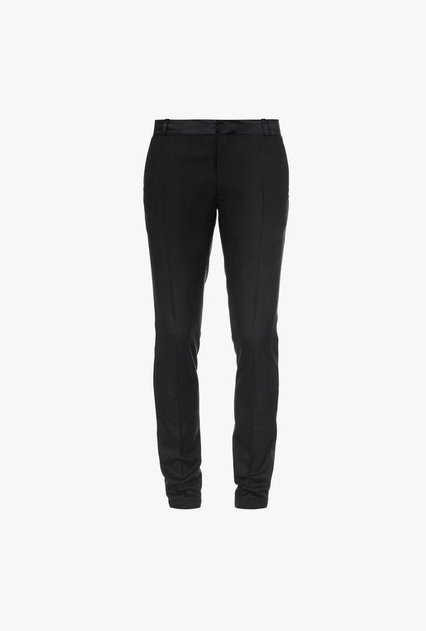 Pantaloni In Lana Con Fasce In Raso Nero - Balmain