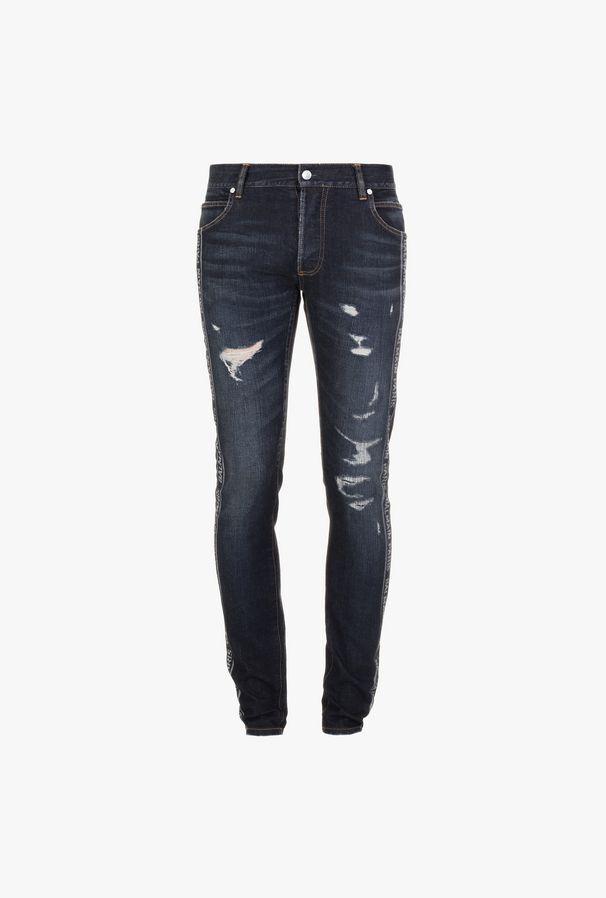 Jeans Slim-Fit In Cotone Blu Con Strappi - Balmain