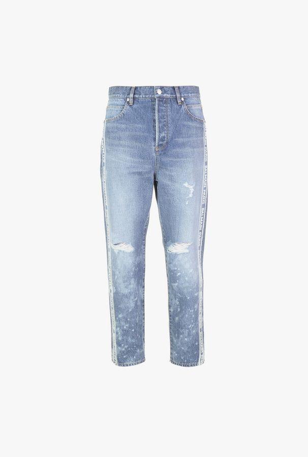 Jeans In Cotone Blu Effetto Sbiadito Con Logo Balmain - Balmain