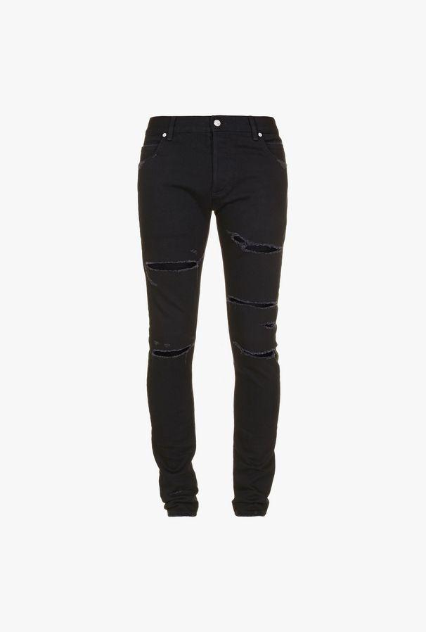 Jeans Skinny Neri In Cotone Con Strappi - Balmain