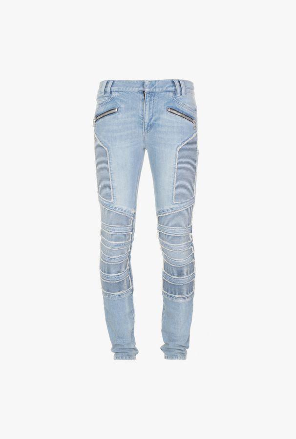 Jeans Slim-Fit In Denim Di Cotone Blu - Balmain