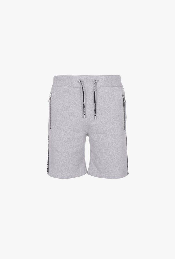 Shorts Grigi In Cotone Con Logo Balmain - Balmain