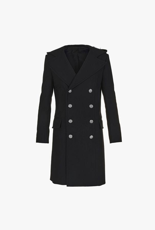 Cappotto Doppiopetto Nero In Cashmere - Balmain