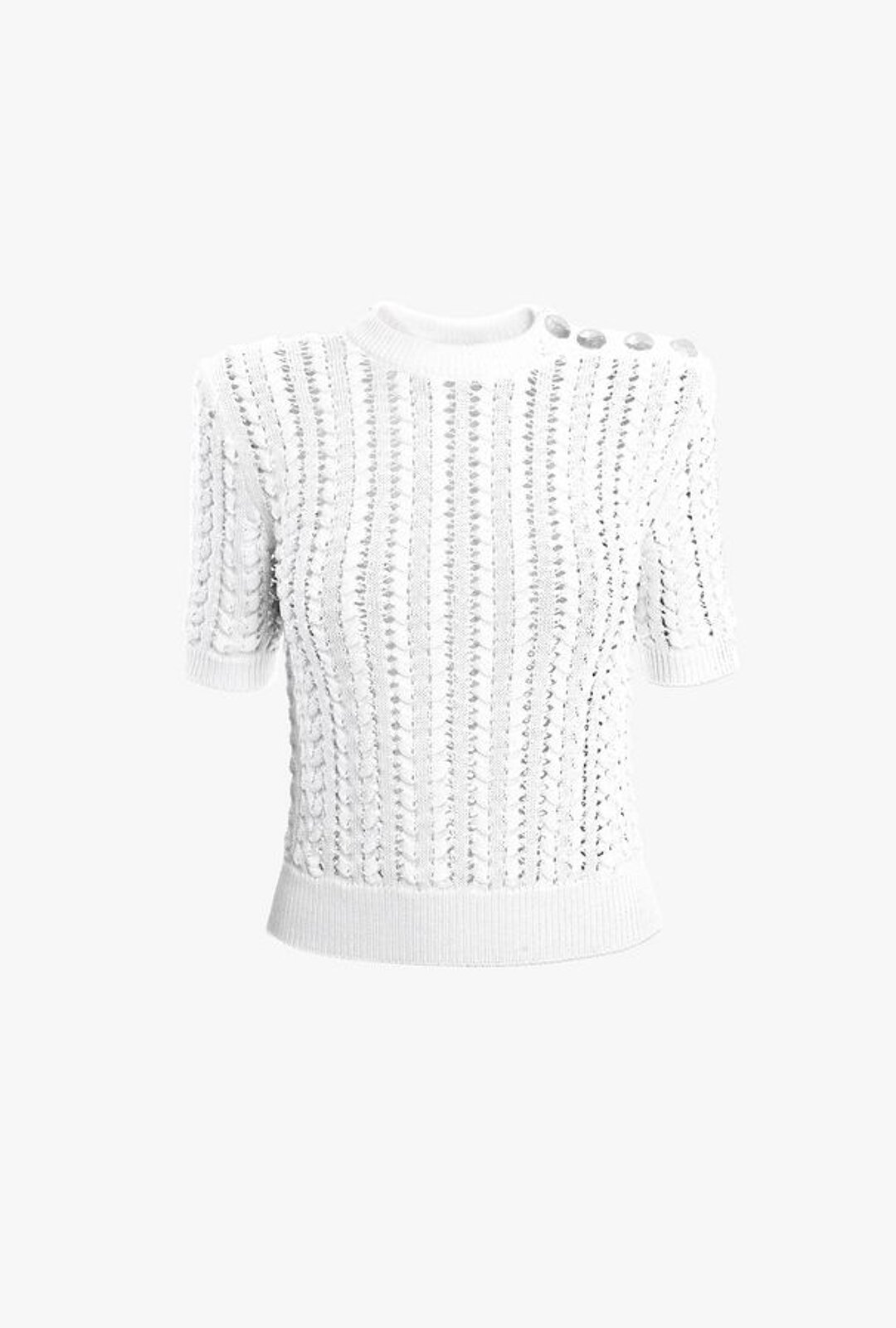 Top Bianco All'Uncinetto Con Bottoni Argentati - Balmain