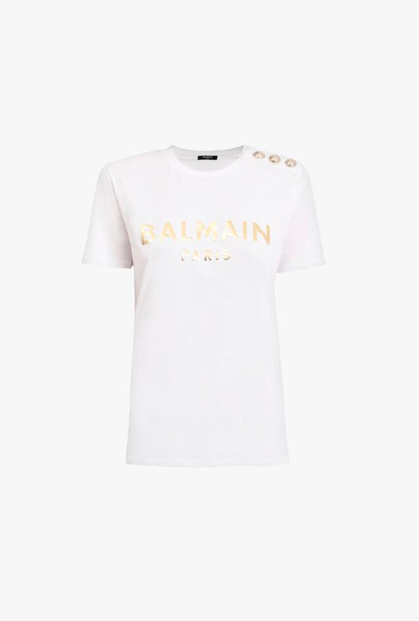 T-Shirt Bianca In Cotone Con Stampa Logo Balmain Oro - Balmain