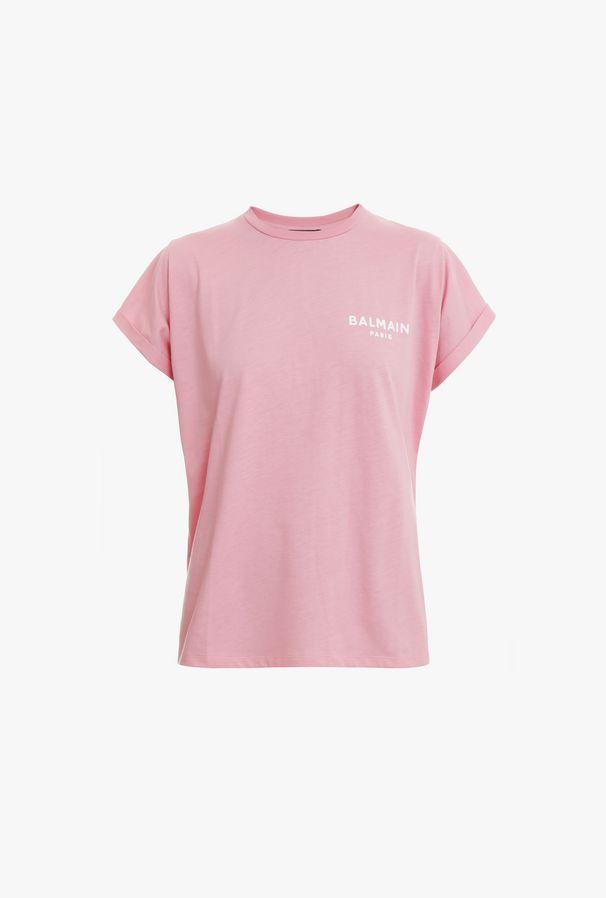 T-Shirt Rosa In Cotone Con Logo Balmain Floccato Bianco - Balmain