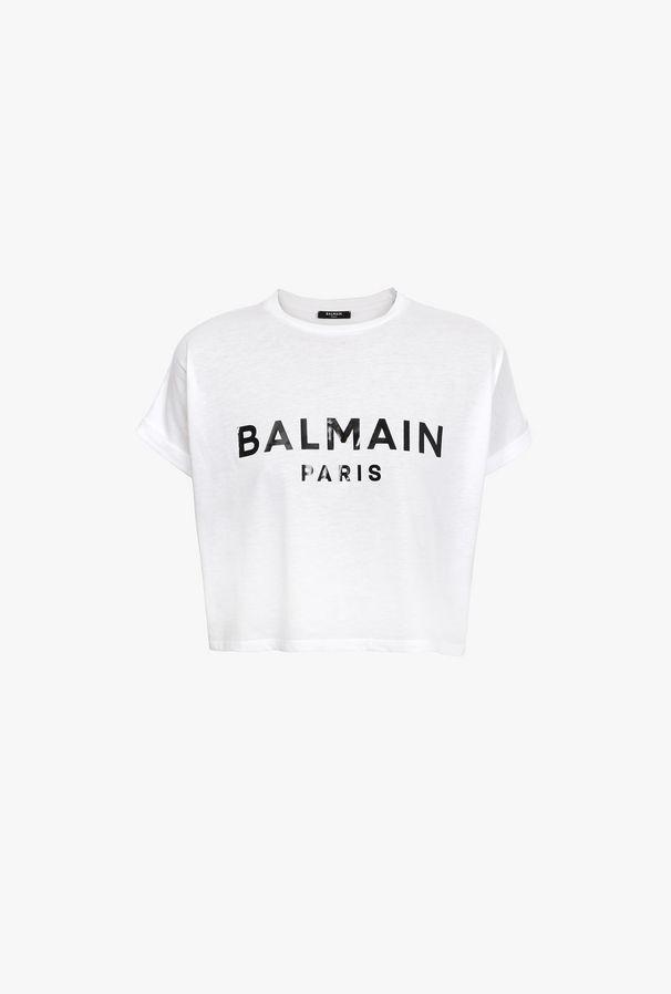 T-Shirt Corta Bianca In Cotone Con Stampa Logo Balmain Nero - Balmain