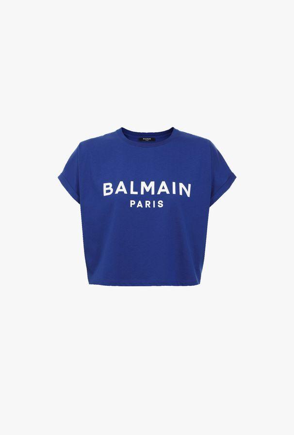 T-Shirt Corta Blu In Cotone Con Stampa Logo Balmain Bianco - Balmain