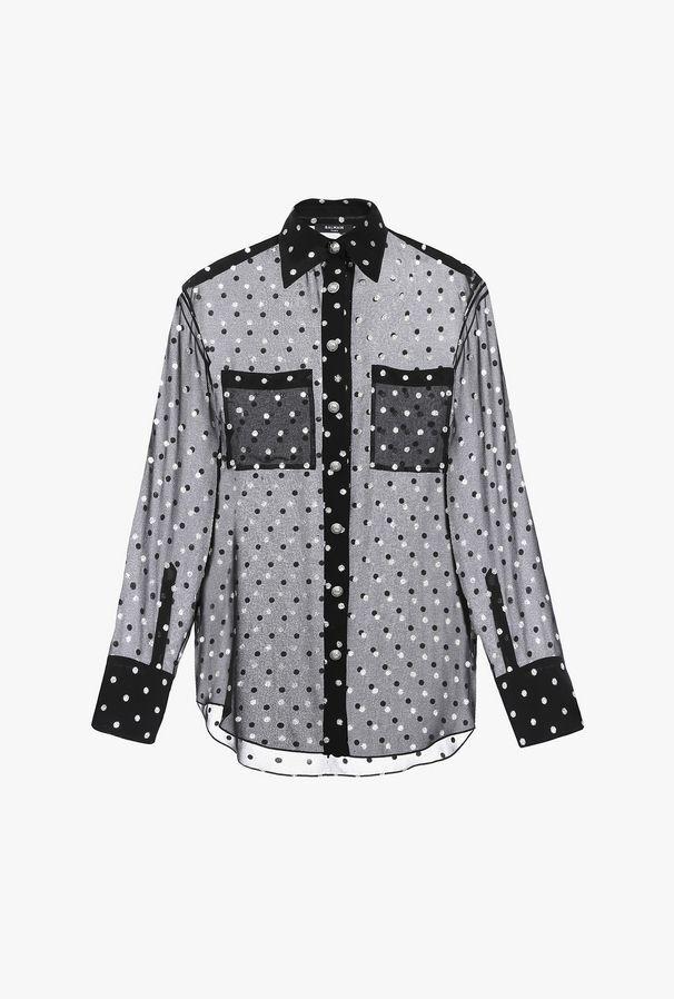 Camicia Nera E Argento In Georgette A Pois - Balmain