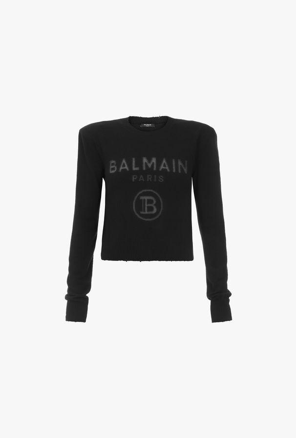 Pullover Nero In Cashmere Con Logo Balmain Trasparente - Balmain