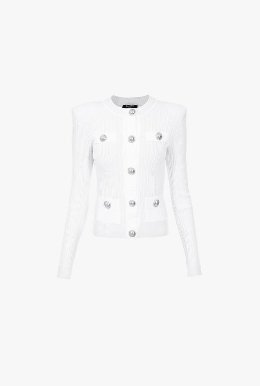 White Knitted Cardigan With Silver Buttons - Balmain