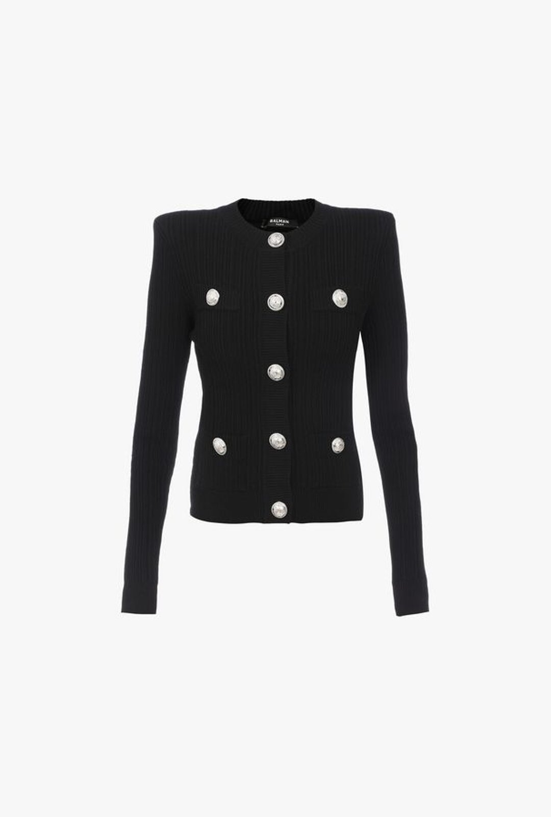 Black Knitted Cardigan With Silver Buttons - Balmain