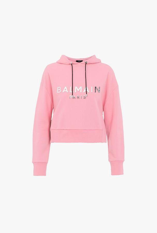 Felpa Corta Rosa In Cotone Con Cappuccio E Logo Balmain Argentato - Balmain