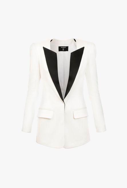 Blazer Bianco In Raso Con Colletto Nero - Balmain