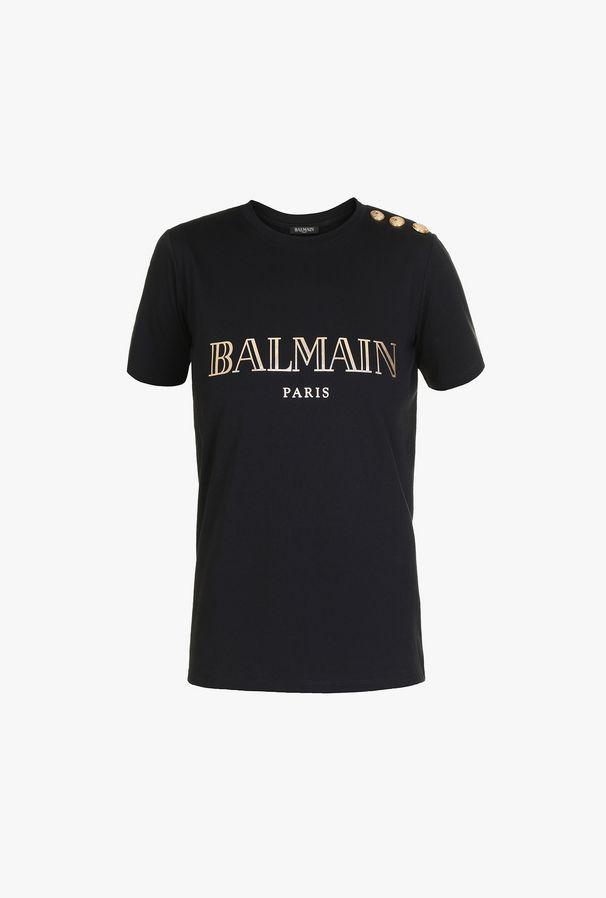 T-Shirt Nera In Cotone Con Stampa Logo Balmain In Oro - Balmain
