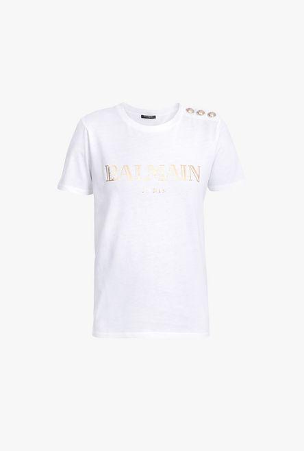 T-Shirt Bianca In Cotone Con Stampa Logo Balmain In Oro - Balmain
