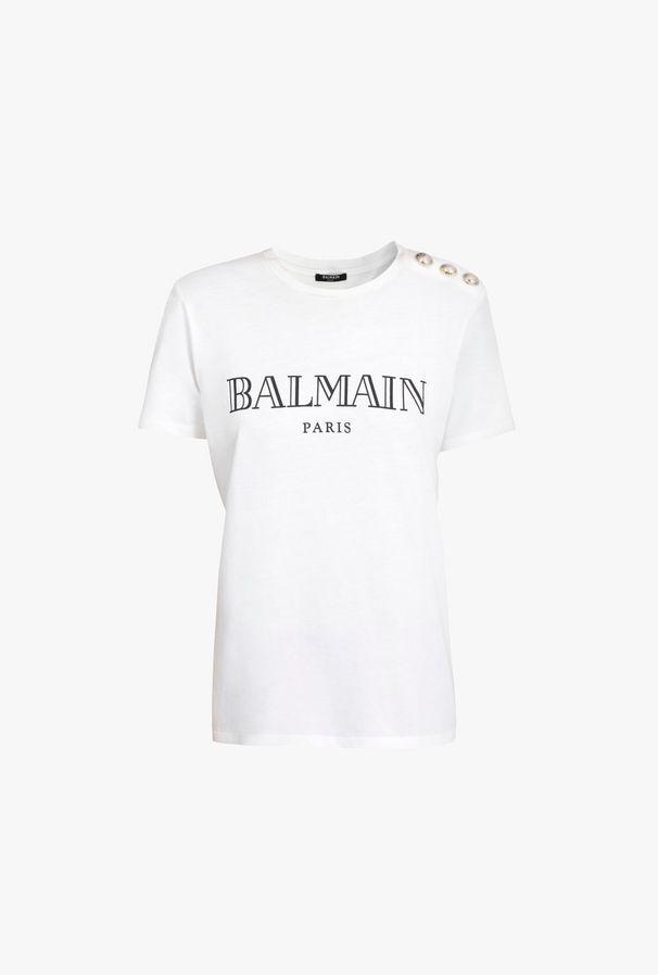 T-Shirt Bianca In Cotone Con Stampa Logo Balmain - Balmain