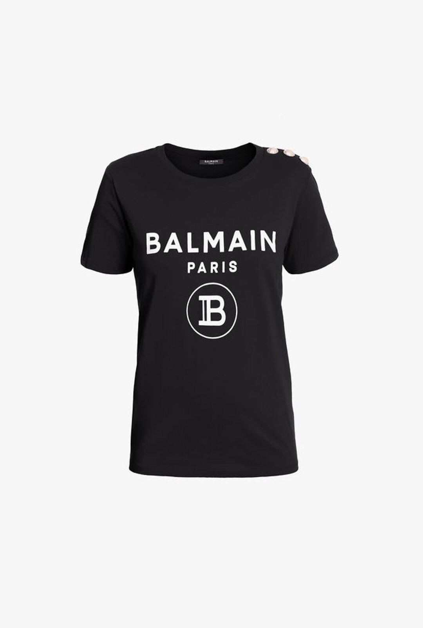 T-Shirt Nera In Cotone Con Stampa Del Logo Balmain Bianco - Balmain