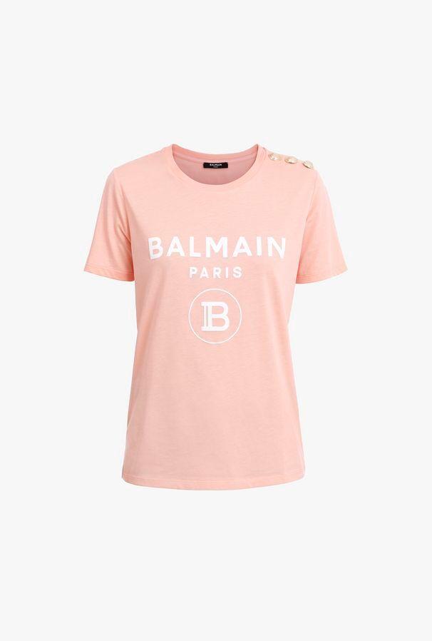 T-Shirt Rosa In Cotone Con Stampa Logo Balmain Bianco - Balmain