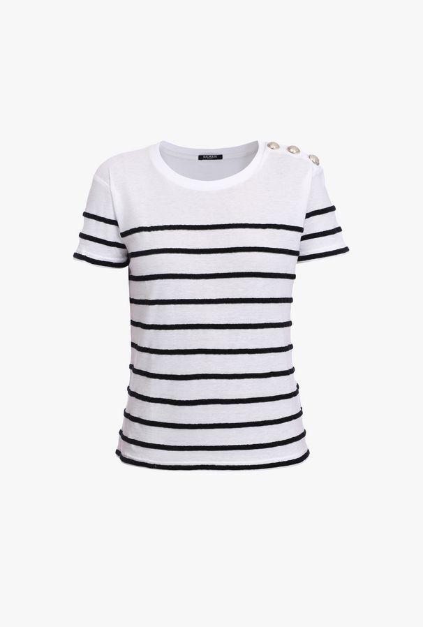 T-Shirt Bianca E Nera A Righe In Cotone Con Logo Balmain In Rosso - Balmain