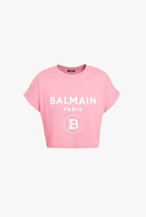 T-Shirt Corta Rosa In Cotone Con Stampa Logo Balmain Bianco - Balmain