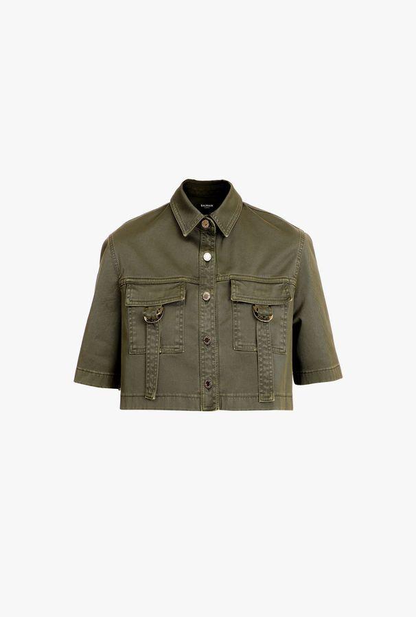 Camicia Corta Militare Kaki In Cotone - Balmain