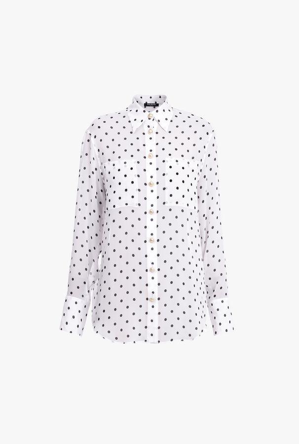 Camicia Bianca E Nera A Pois In Seta - Balmain