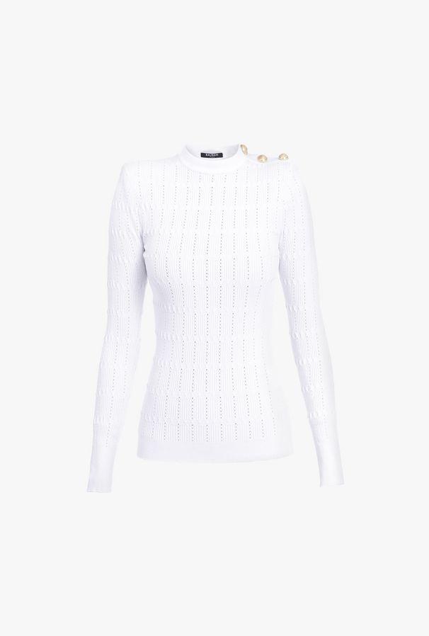 Pullover Bianco In Maglia Traforata Con Bottoni Dorati - Balmain