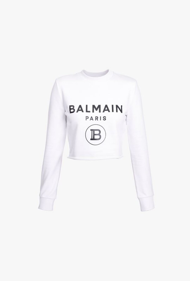 Felpa Corta Bianca In Cotone Con Logo Balmain Nero - Balmain