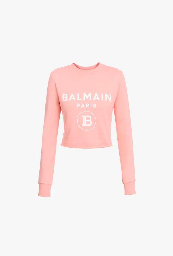 Felpa Corta Rosa In Cotone Con Logo Balmain Bianco - Balmain