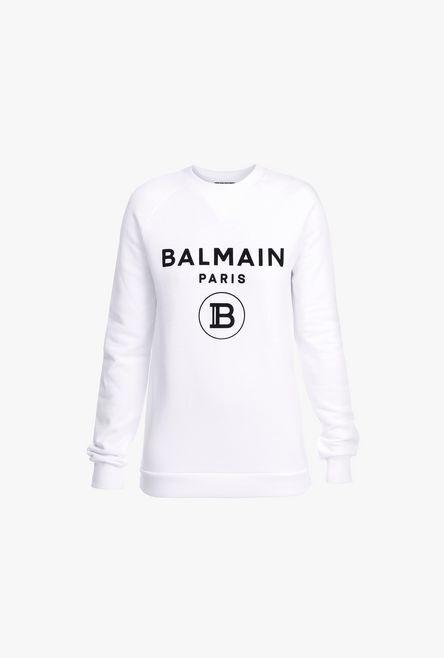 Felpa Bianca In Cotone Con Logo Balmain Nero - Balmain