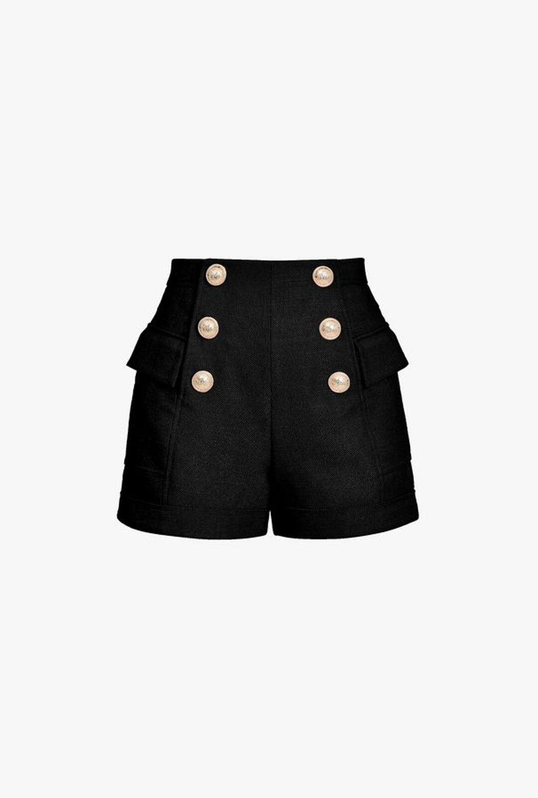 Black High Waisted Shorts With Golden Double Breasted Closure - Balmain