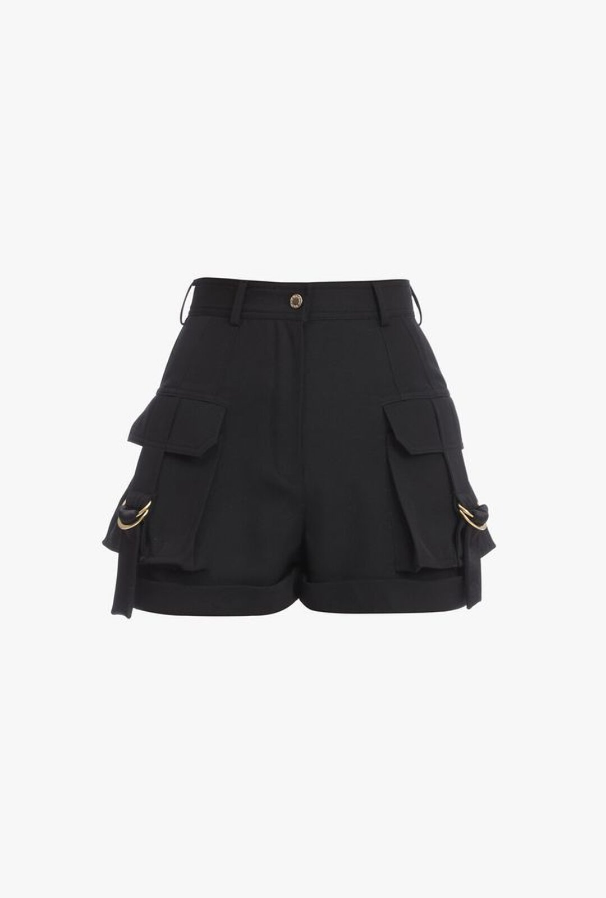 Shorts Cargo A Vita Alta Neri In Lana - Balmain