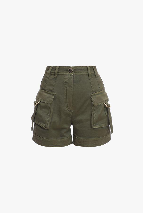 Shorts Cargo A Vita Alta Kaki In Cotone - Balmain
