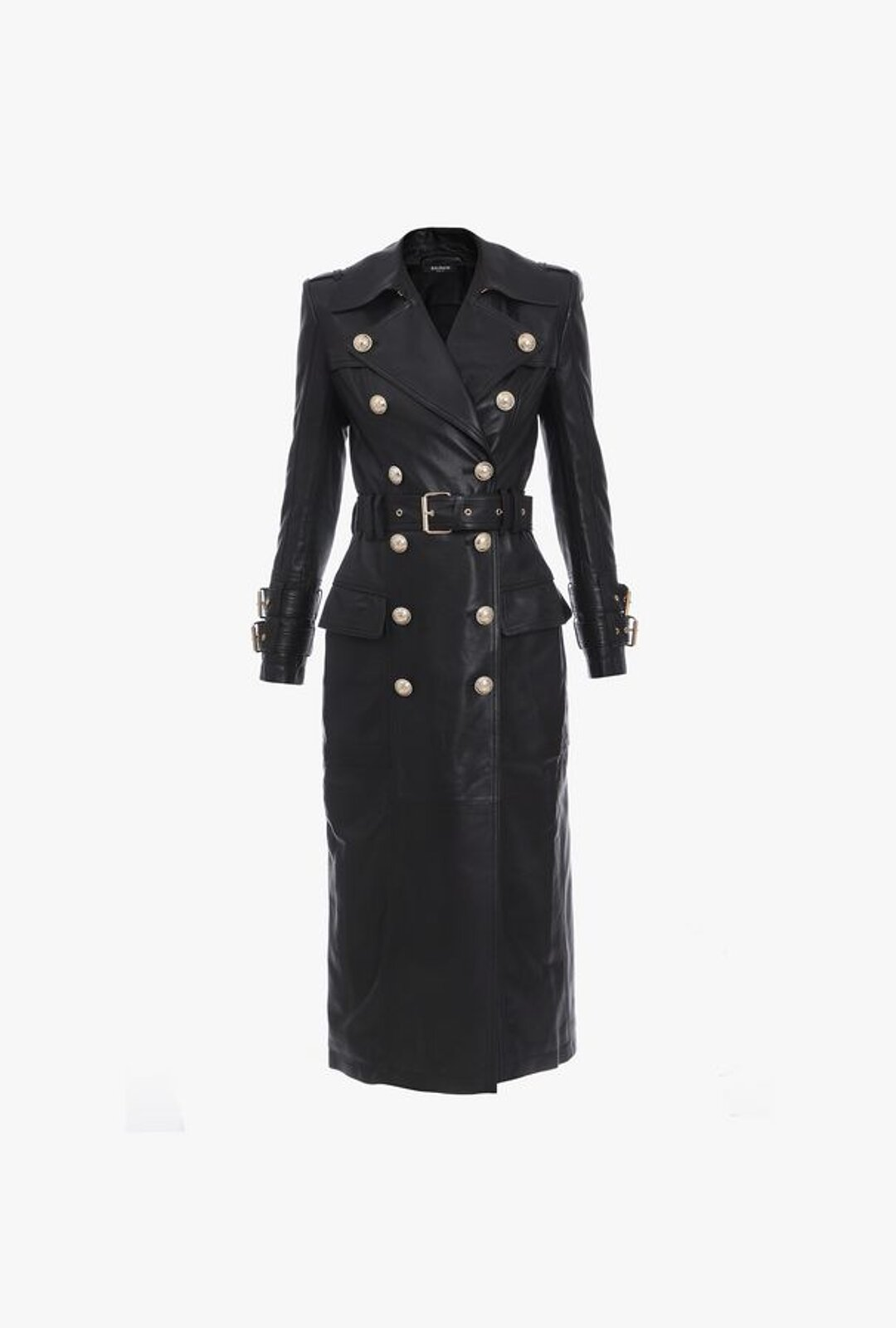 Long Black Leather Trench Coat - Balmain