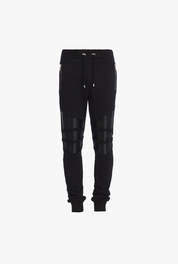 Pantaloni Sportivi Strappati In Cotone Con Pannelli Neri - Balmain