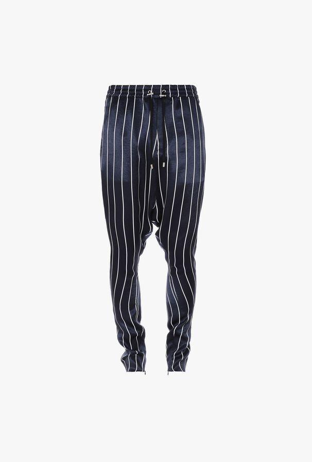 Pantaloni Harem A Righe Blu E Bianche - Balmain