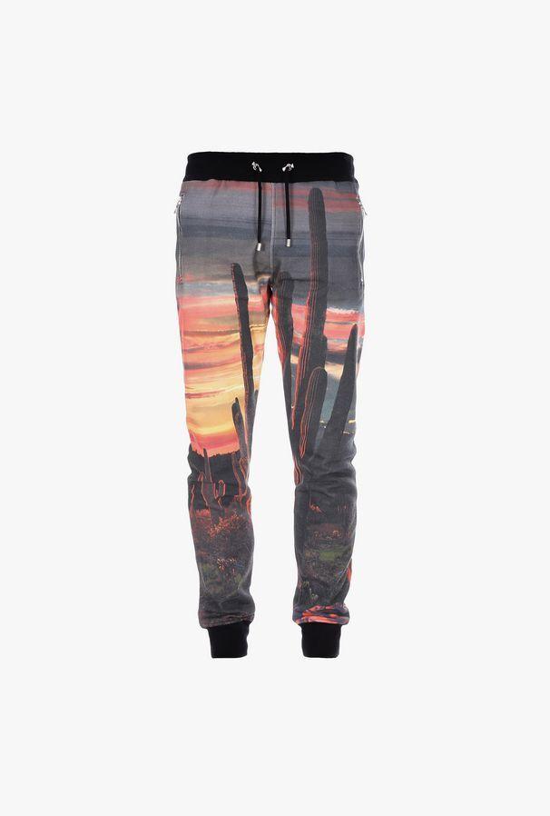 Pantaloni Sportivi In Cotone Con Stampa Grand Canyon - Balmain