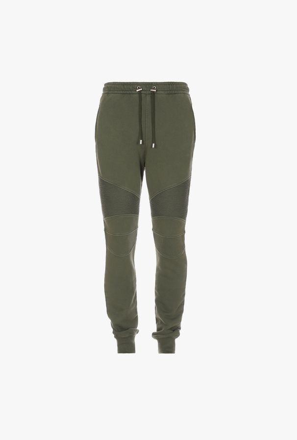 Pantaloni Sportivi Verdi In Cotone Con Monogramma Balmain - Balmain