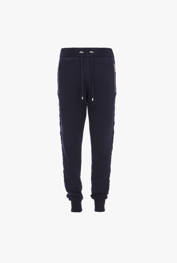 Pantaloni Sportivi Blu Navy In Cotone Con Logo Balmain - Balmain