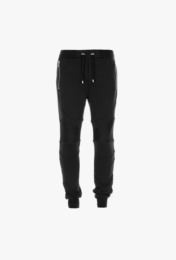 Pantaloni Sportivi Neri In Cotone Con Monogramma Balmain - Balmain