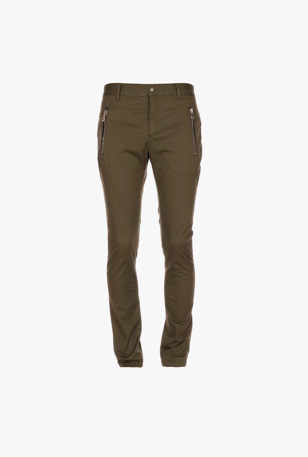 Pantaloni Chino Slim-Fit Kaki In Cotone Con Monogramma Balmain - Balmain