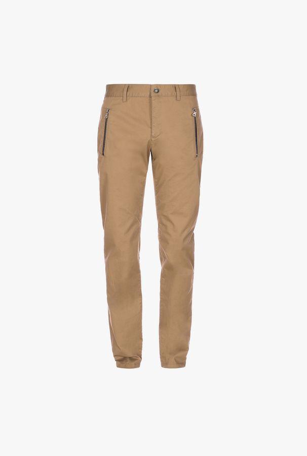 Pantaloni Chino Affusolati Beige In Cotone Con Monogramma Balmain - Balmain