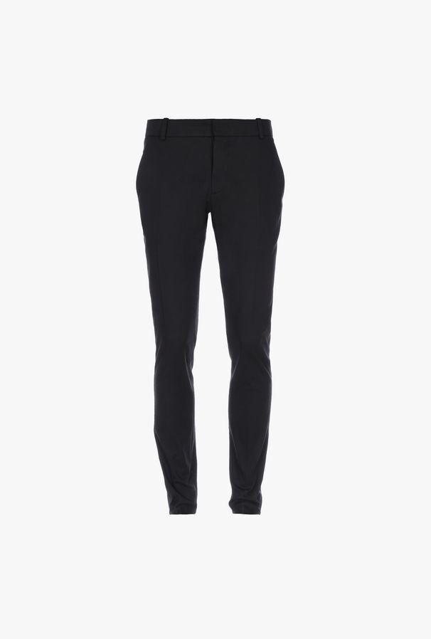 Pantaloni Aderenti Neri In Cotone Con Fasce In Raso - Balmain
