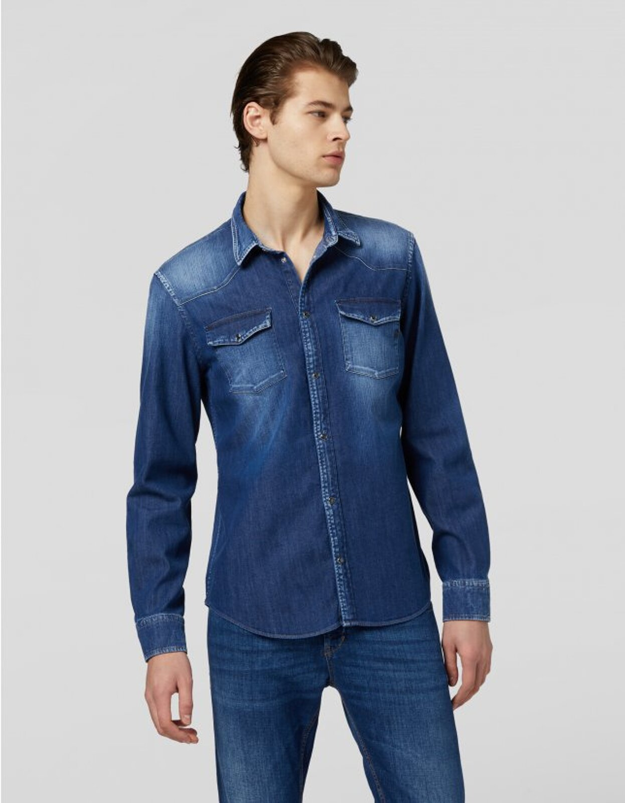 Camicia Western In Denim - Dondup